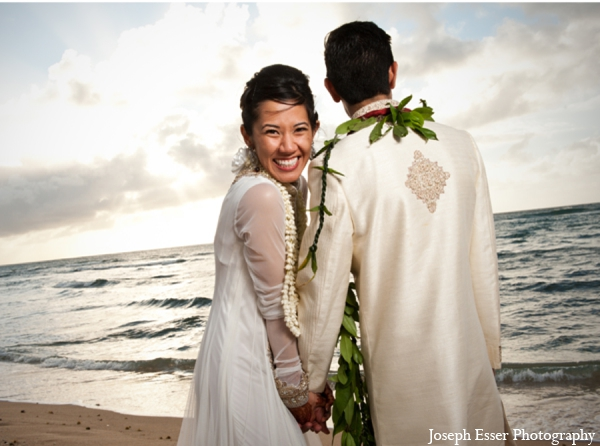 Indian wedding portrait outdoor beach