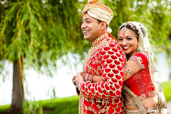 Indian wedding bride groom portraits outdoor red lengha fashion in Chicago, Illinois Indian Wedding by Joseph Kang