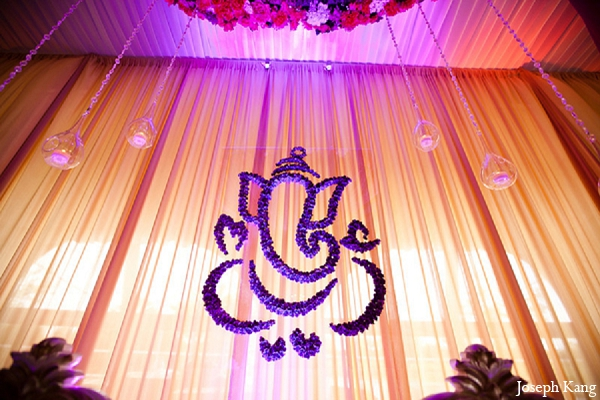 Indian wedding ceremony mandap floral arrangement purple in Chicago, Illinois Indian Wedding by Joseph Kang