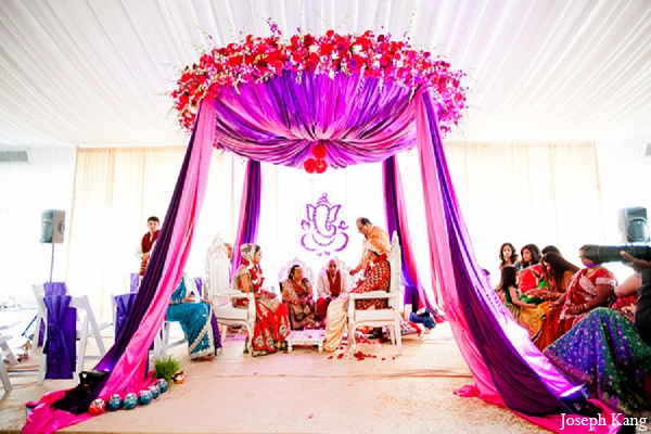 Indian Wedding Ceremony Purple Mandap Bride Groom Photo 11822