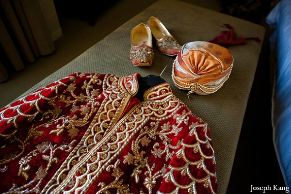 Indian wedding groom outfit red sherwani fashion in Chicago, Illinois Indian Wedding by Joseph Kang