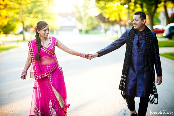 Indian wedding portraits bride groom garba night pink lengha outdoor in Chicago, Illinois Indian Wedding by Joseph Kang