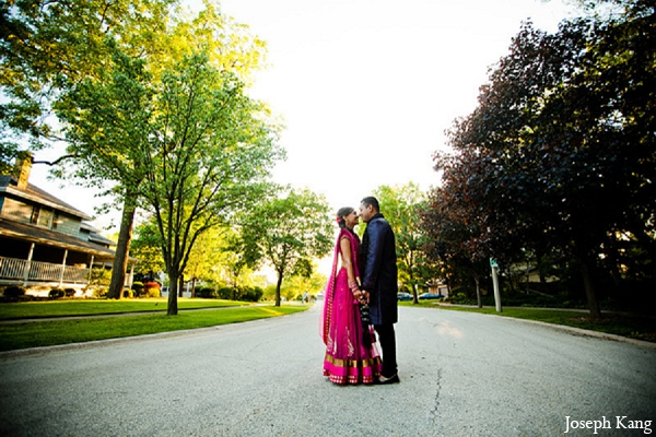 Indian wedding portraits groom bride pink lengha outdoor in Chicago, Illinois Indian Wedding by Joseph Kang