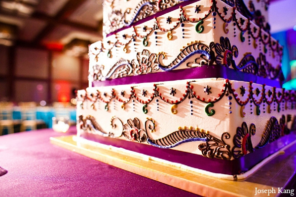 Indian wedding reception cake mehndi design in Chicago, Illinois Indian Wedding by Joseph Kang