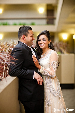 Indian wedding reception portraits white lengha in Chicago, Illinois Indian Wedding by Joseph Kang
