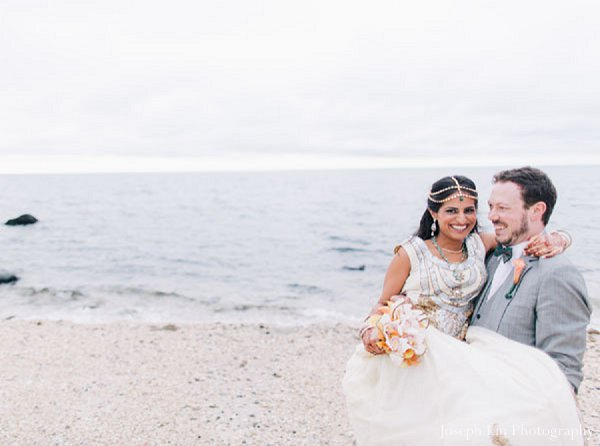 Indian wedding beach portraits in Greenport, NY Indian Fusion Wedding by Joseph Lin Photography