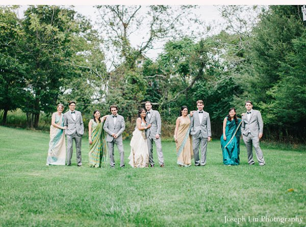 Indian wedding bridal party in Greenport, NY Indian Fusion Wedding by Joseph Lin Photography