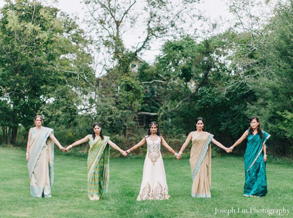 Indian wedding bridesmaids portraits in Greenport, NY Indian Fusion Wedding by Joseph Lin Photography