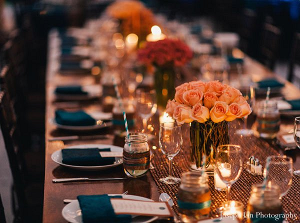 Indian wedding centerpieces floral in Greenport, NY Indian Fusion Wedding by Joseph Lin Photography