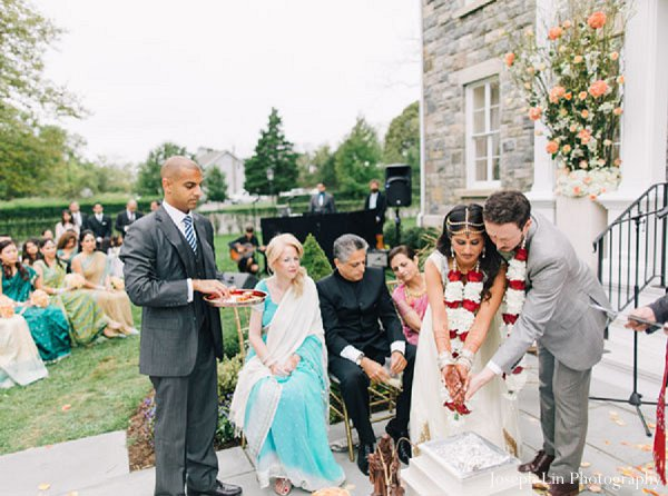 Indian wedding ceremony bride groom in Greenport, NY Indian Fusion Wedding by Joseph Lin Photography
