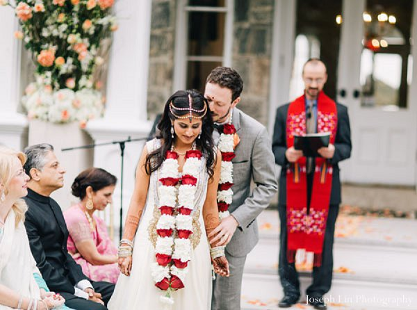 Indian wedding ceremony bride in Greenport, NY Indian Fusion Wedding by Joseph Lin Photography