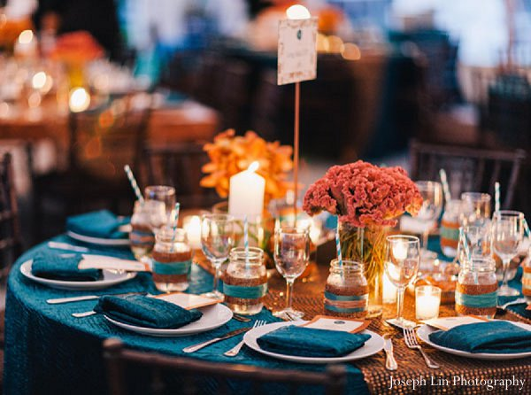 Indian wedding decor floral reception in Greenport, NY Indian Fusion Wedding by Joseph Lin Photography