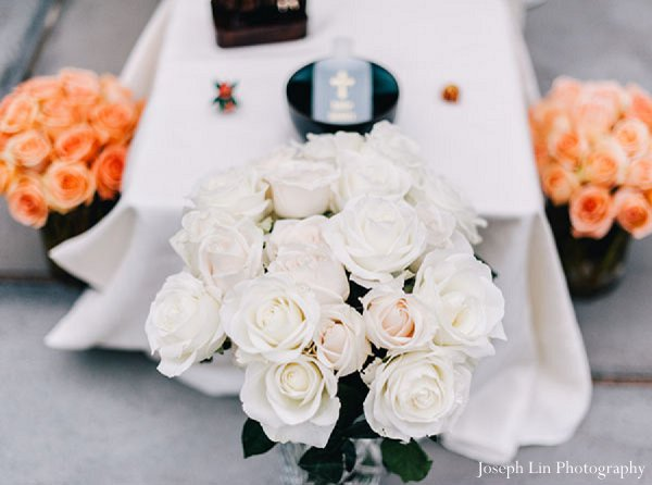 Indian wedding floral reception in Greenport, NY Indian Fusion Wedding by Joseph Lin Photography
