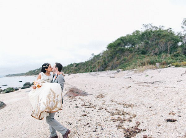 Indian wedding groom bride beach in Greenport, NY Indian Fusion Wedding by Joseph Lin Photography