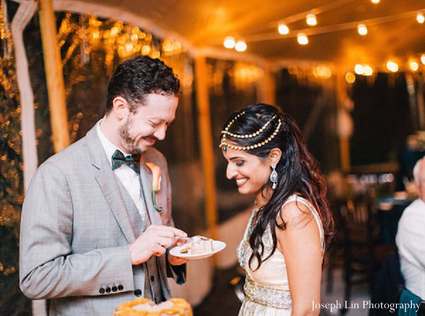 Indian wedding groom bride reception in Greenport, NY Indian Fusion Wedding by Joseph Lin Photography