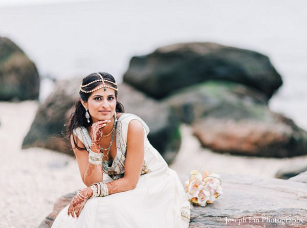 Indian-wedding-portrait-bride in Greenport, NY Indian Fusion Wedding by Joseph Lin Photography