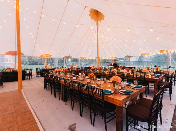 Indian wedding reception decor in Greenport, NY Indian Fusion Wedding by Joseph Lin Photography