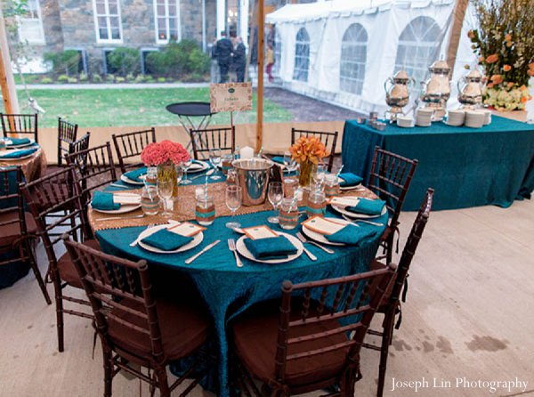 Indian wedding reception design in Greenport, NY Indian Fusion Wedding by Joseph Lin Photography
