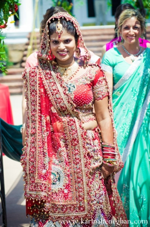Indian-wedding-bride-comes-down-aisle