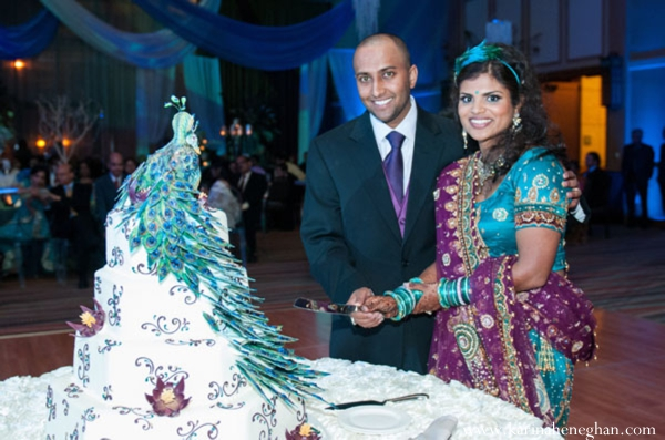 Indian-wedding-bride-groom-cake-cutting
