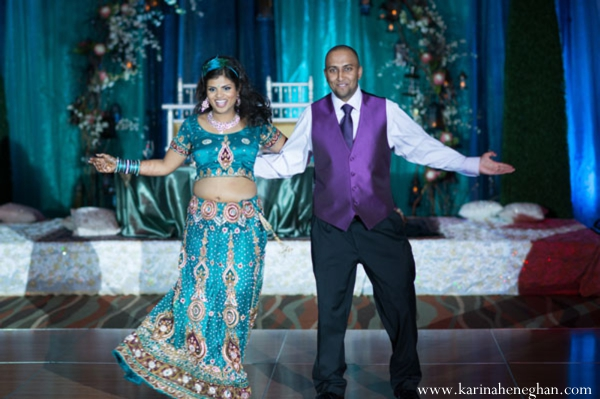 Indian-wedding-bride-groom-dance-at-reception