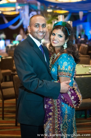 Indian-wedding-bride-groom-pose-at-reception