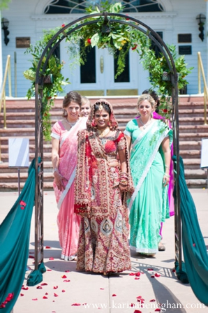 Indian-wedding-bride-walks-down-aisle