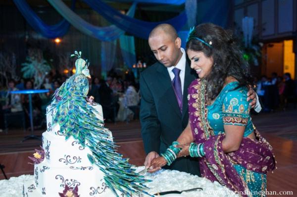 Indian-wedding-cake-cutting-peacock
