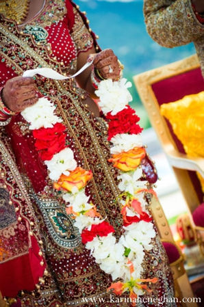 Indian-wedding-ceremony-jai-mala-colorful-bride