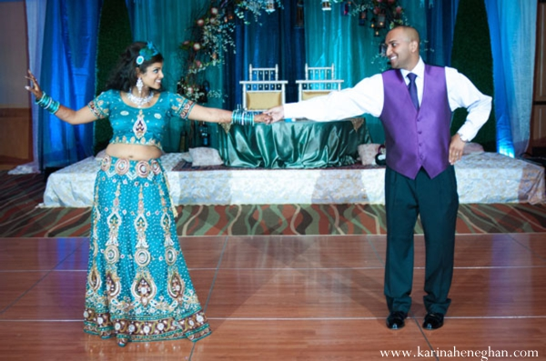Indian-wedding-dancing-couple-happy-reception