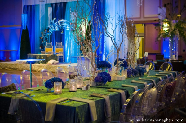 Indian-wedding-reception-blue-lighting-venue-decor