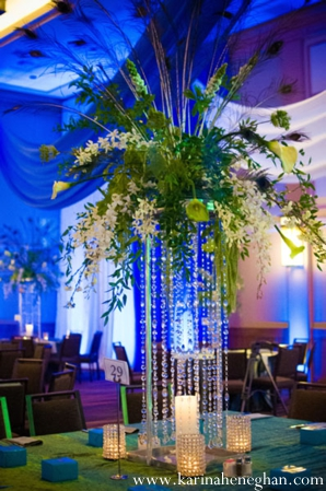 Indian-wedding-reception-decor-lighting-blue-centerpiece