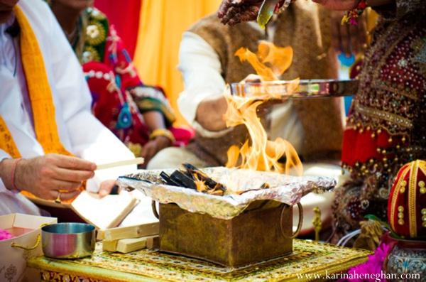 Indian-wedding-traditional-fire-ritual-at-ceremony