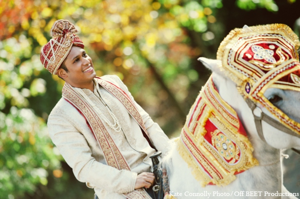 Indian wedding baraat groom in Rockleigh, New Jersey Indian Wedding by Kate Connolly Photography