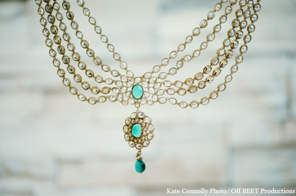 gold,teal,blue,bridal jewelry,indian wedding jewelry,indian bridal jewelry,indian bride jewelry,Kate Connolly Photography