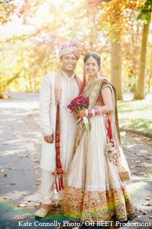 Indian wedding outdoor portrait in Rockleigh, New Jersey Indian Wedding by Kate Connolly Photography