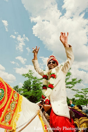 Indian-wedding-baraat-ceremony-groom in Neptune, New Jersey Indian Wedding by Kate Connolly Photography