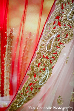 Indian wedding bridal fashion dupatta red in Neptune, New Jersey Indian Wedding by Kate Connolly Photography