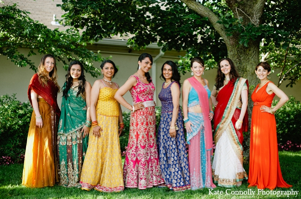 Indian wedding bride bridal party fashion in Neptune, New Jersey Indian Wedding by Kate Connolly Photography