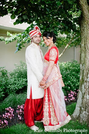 Indian wedding bride groom portraits fashion in Neptune, New Jersey Indian Wedding by Kate Connolly Photography
