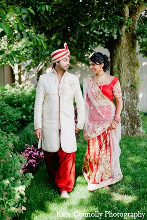 Indian wedding bride groom portraits red lengha in Neptune, New Jersey Indian Wedding by Kate Connolly Photography