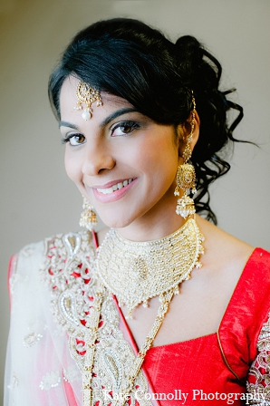 Indian wedding bride makeup hair jewelry in Neptune, New Jersey Indian Wedding by Kate Connolly Photography