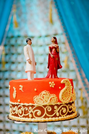 Indian wedding cake topper traditional bride groom in Neptune, New Jersey Indian Wedding by Kate Connolly Photography