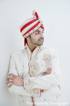 Indian wedding groom fashion white sherwani pagni in Neptune, New Jersey Indian Wedding by Kate Connolly Photography