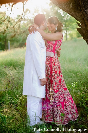 Indian wedding outdoor portraits reception pink lengha in Neptune, New Jersey Indian Wedding by Kate Connolly Photography
