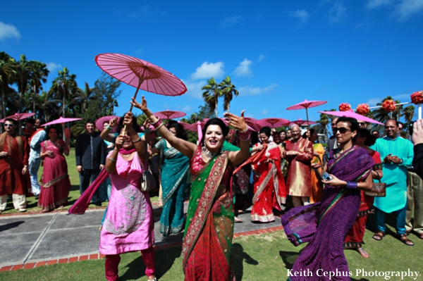 Indian-wedding-baraat-celebration-parasols-dancing