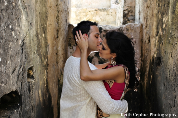 Indian-wedding-bride-groom-portrait-kiss