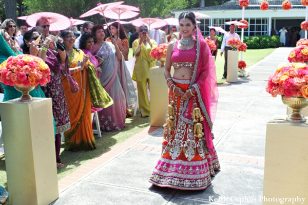Indian-wedding-bride-walks-down-aisle