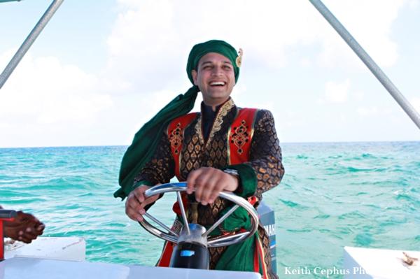 Indian-wedding-groom-baraat-via-boat-water