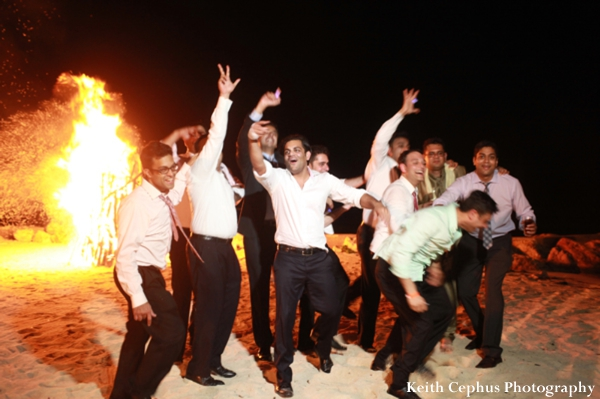Indian-wedding-men-beach-bonfire